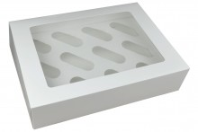 "3"" Deep White Cupcake Box - 12 Count"