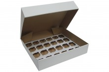 "4"" Deep White Cupcake Box- 24 Count"