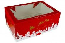 Christmas Cupcake Box - 6 Count - Pack of 25