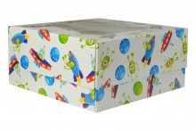 4 Count Cupcake Boxes - White Spaceships - Pack of 100