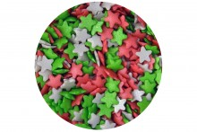 Sugar Stars: Silver, Red & Green