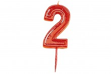 Plain Red Candle Numeral 2