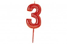 Plain Red Candle Numeral 3