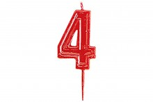 Plain Red Candle Numeral 4