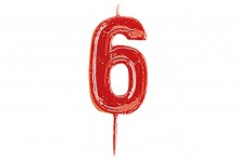 Plain Red Candle Numeral 6