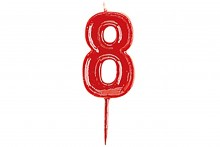 Plain Red Candle Numeral 8