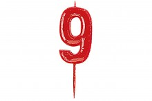 Plain Red Candle Numeral 9