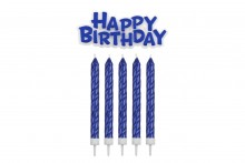 Happy Birthday Candle & Motto Set: Blue