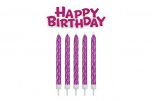 Happy Birthday Candle & Motto Set: Pink