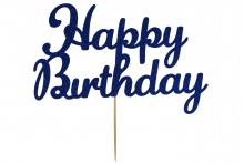 Cake Topper - Happy Birthday - Navy Blue