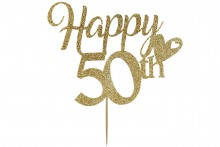 Cake Topper - Happy 50th Birthday - Light Gold