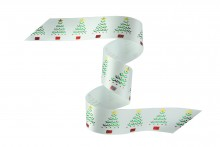 36mm Christmas Ribbon - Green Trees & Baubles on White Ribbon
