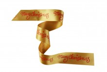 25mm Christmas Ribbon - Red Merry Christmas on Gold Ribbon