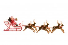Plastic Santa on Sleigh with Reindeer