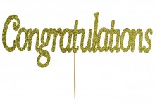 Cake Topper - Congratulations - Gold