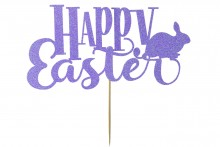 Cake Topper - Happy Easter with Bunny - Lilac