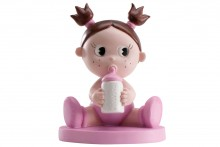 Cake Topper: Baby Girl with Bottle, Pink