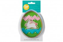 Wilton : Cookie Cutter Set - Easter Egg with Mini Bunny - Set of 2