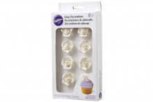 Wilton : White Rose Icing Decorations - Pack of 8