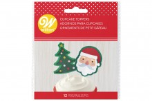 Wilton : Santa and Tree Cupcake Picks - Pack of 12