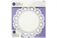 Wilton : 10 Round Greaseproof White Doilies