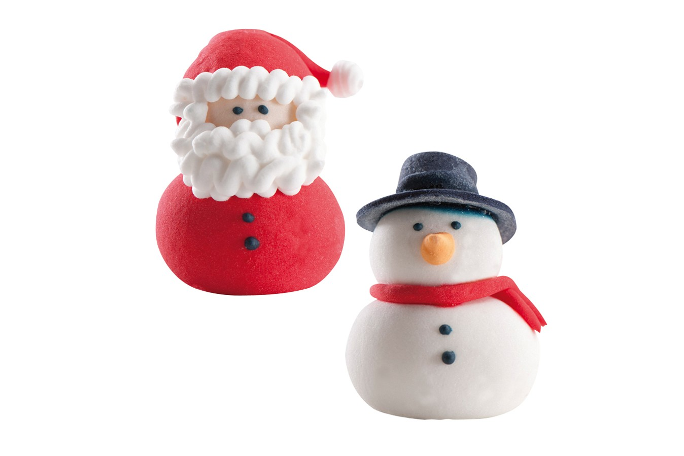 Sugar Cake Decorations For Christmas : Sugar 3D Santa & Snowman Figures Doric Cake Crafts