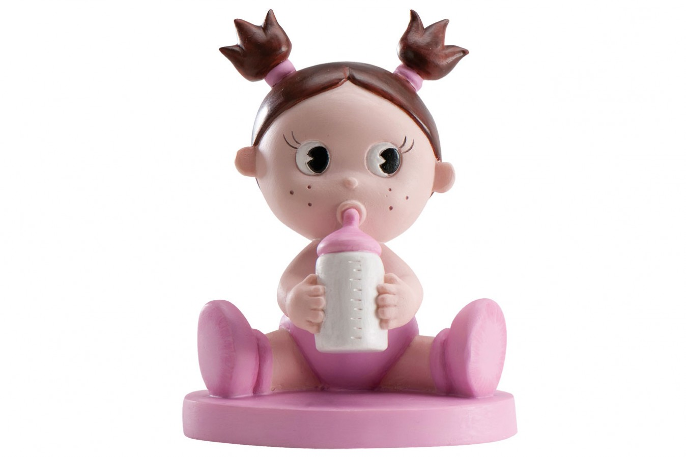 Cake Toppers Baby Girl : Cake Topper: Baby Girl with Bottle, Pink Doric Cake Crafts